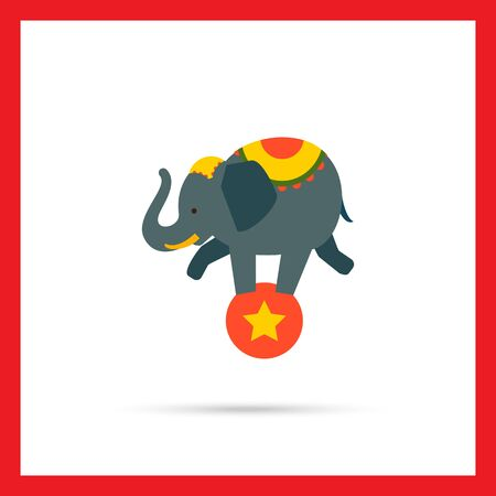 trained: Icon of circus elephant balancing on red ball