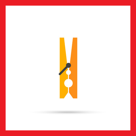 clothes peg: Multicolored vector icon of classic wooden clothes peg