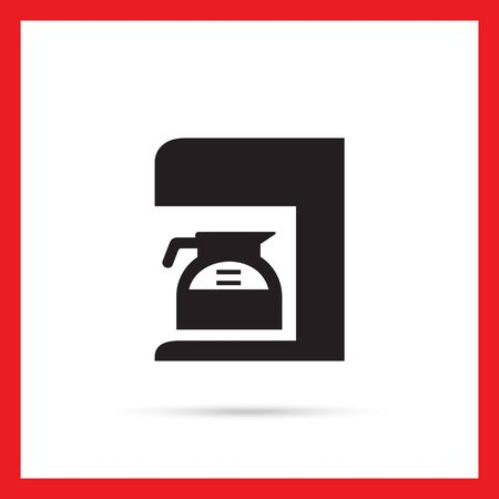 with coffee maker: Vector icon of coffee maker with jar filled with coffee