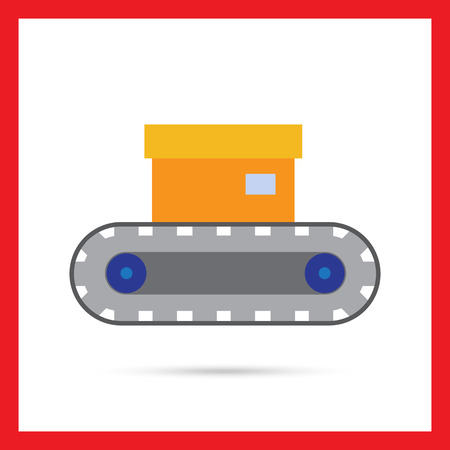 industrial belt: Vector icon of conveyor belt with box on it Illustration