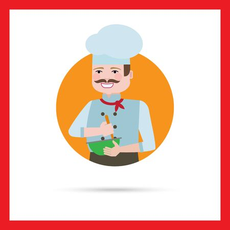 middle aged man: Male character, portrait of male chef with moustache, mixing ingredients in bowl