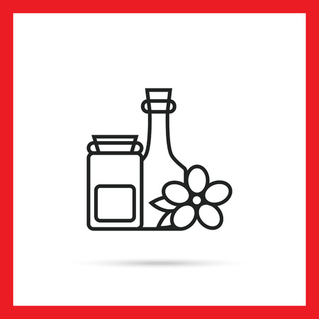 cleansing: Cosmetic bottles icon
