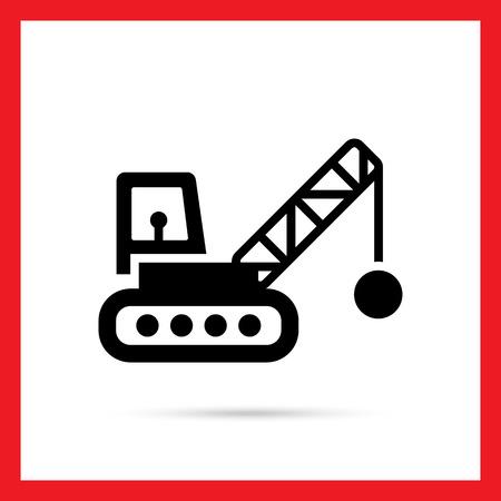 wrecker: Icon of crane with wrecking ball