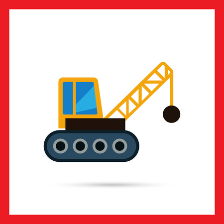chain ball: Multicolored vector icon of crane with wrecking ball