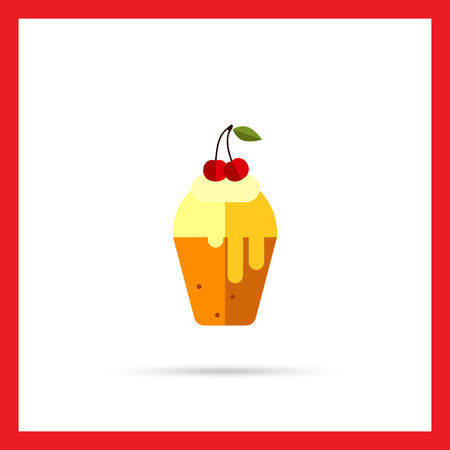 topping: Vector icon of cupcake with topping and cherry