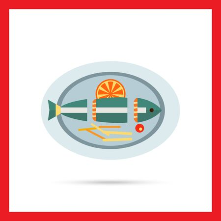 orange slice: Vector icon of cut fish with orange slice and French fries on plate Illustration