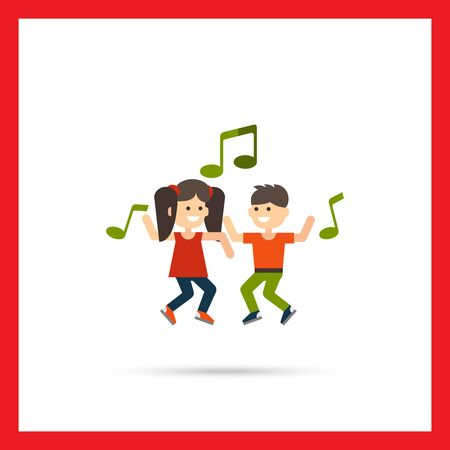 children hands: Multicolored vector icon of dancing girl, boy and green musical notes