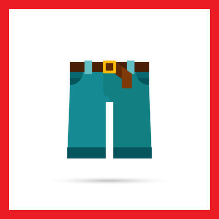 boy shorts: Multicolored vector icon of denim shorts with brown belt and buckle