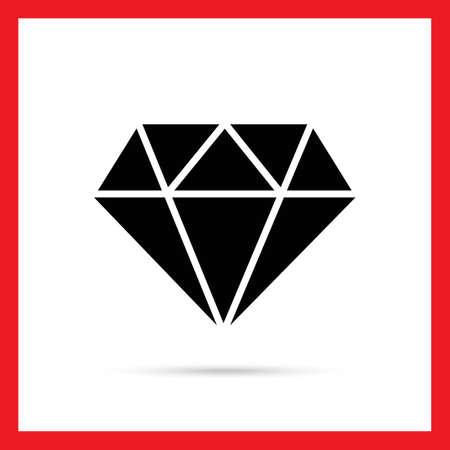 diamond cut: Vector icon of diamond with round cut Illustration