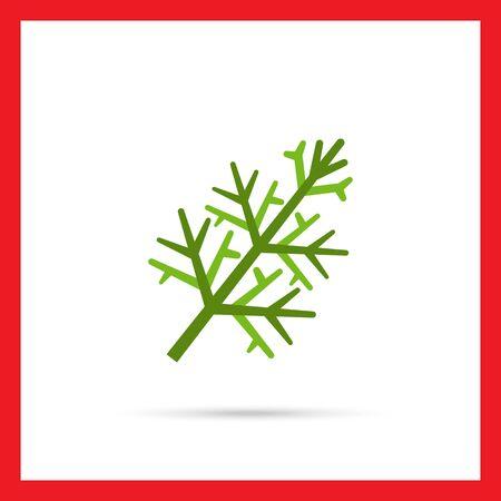 dill: Multicolored vector icon of fresh green dill