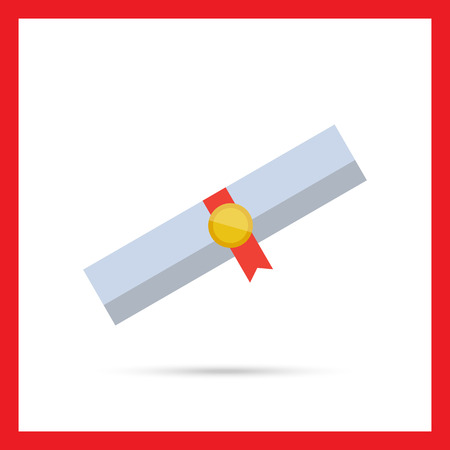 certifying: Icon of diploma scroll with ribbon and seal Illustration