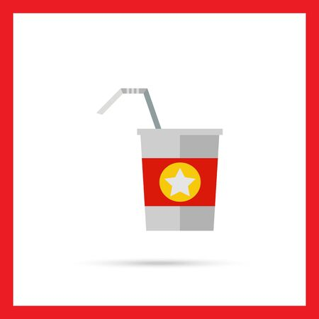 walk away: Multicolored vector icon of straw and disposable cup with red strip and star