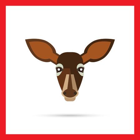 fallow: Multicolored vector icon of brown doe head