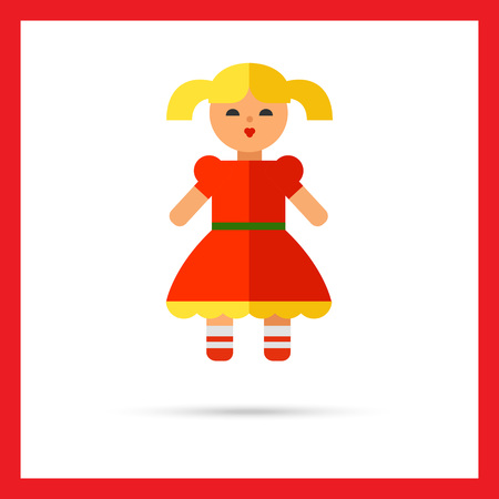 baby playing toy: Multicolored vector icon of doll in red dress