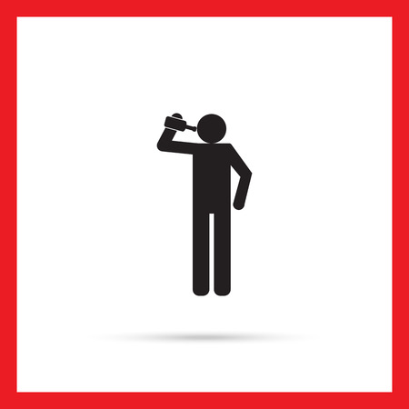alcoholism: Vector icon of man silhouette holding bottle and drinking