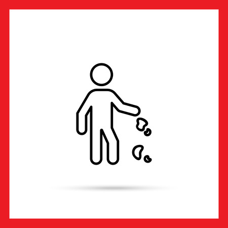 indecent: Icon of man silhouette dropping litter Illustration