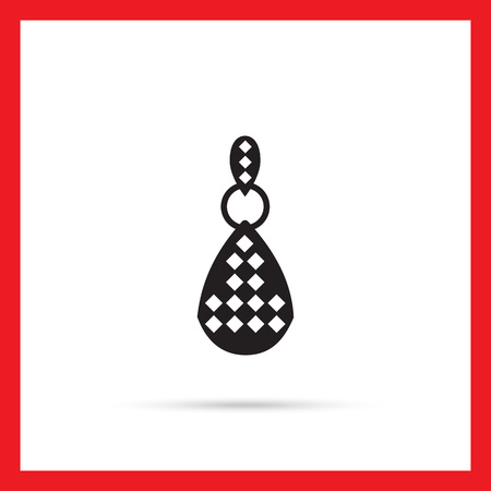 earring: Vector icon of one earring with gemstones