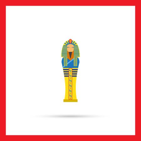 ancient civilization: Vector icon of golden Egyptian pharaoh sarcophagus