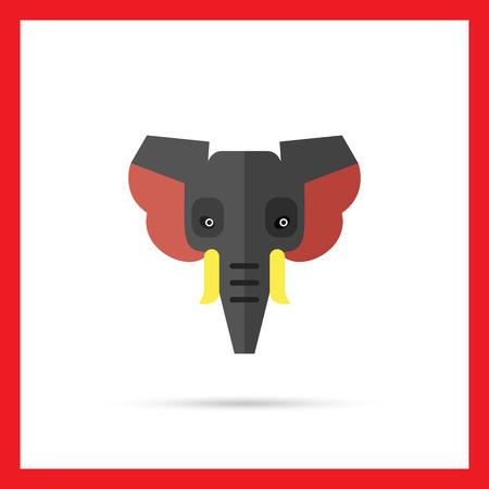 elephant head: Multicolored vector icon of grey elephant head