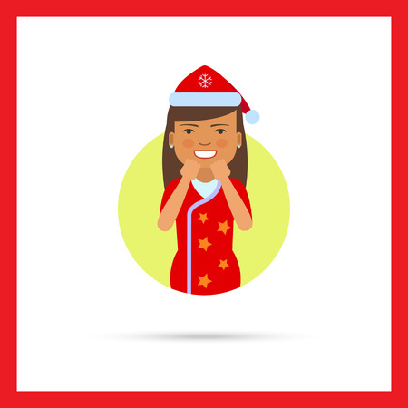 anticipation: Female character, portrait of excited woman in red Santa costume