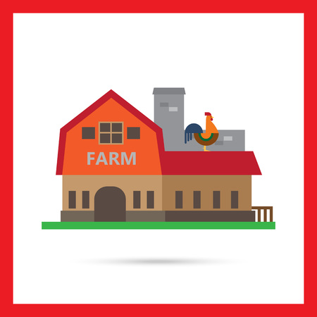 farm building: Vector icon of farm building with cockerel sitting on roof