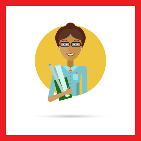 paper rolls: Female character, portrait of smiling young Asian female teacher holding drawing paper rolls Illustration