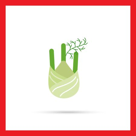 fennel: Vector icon of fennel root with stem parts