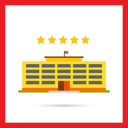 five stars: Multicolored vector icon of yellow hotel building and five stars