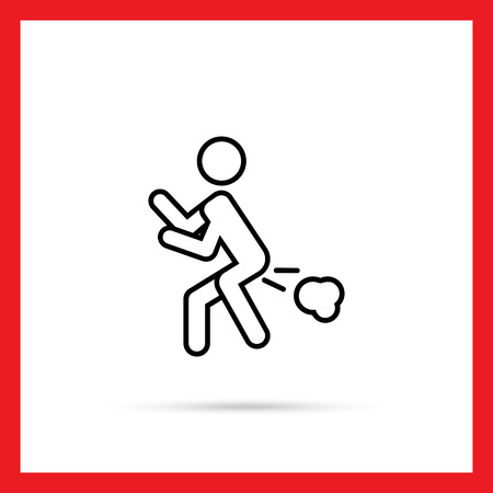 intestinal problems: Icon of mans silhouette with flatulence Illustration