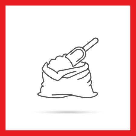 storing: Icon of flour bag with scoop Illustration