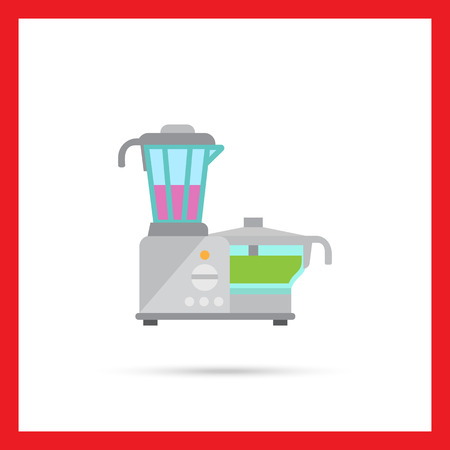 food processor: Vector icon of kitchen food processor with blender and cup Illustration