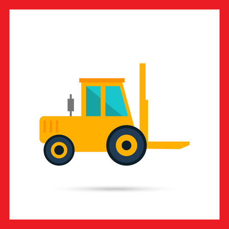 mover: Multicolored vector icon of yellow forklift truck