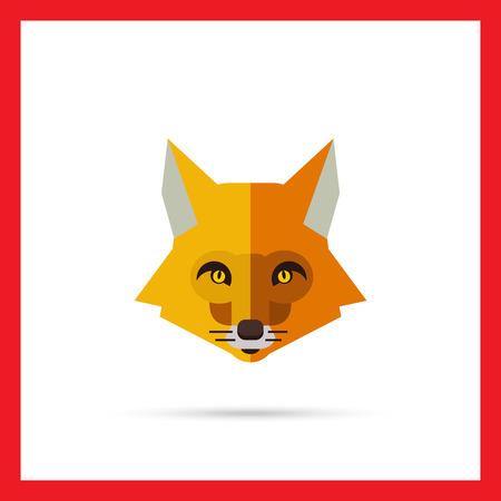 tundra: Multicolored vector icon of red fox head