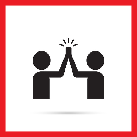 high five: Vector icon of two men silhouettes giving high five Illustration
