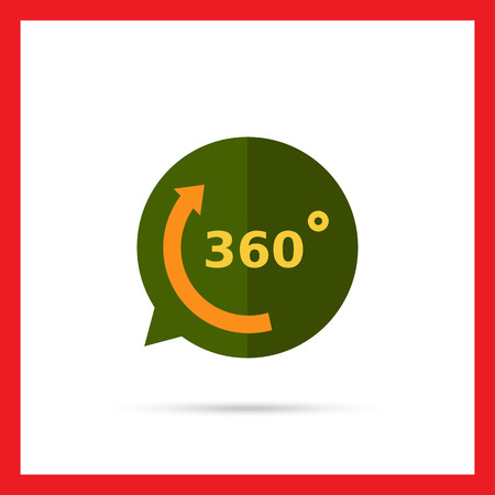 sigh: Vector icon of arrow with 360 degrees angle sign representing full rotation symbol