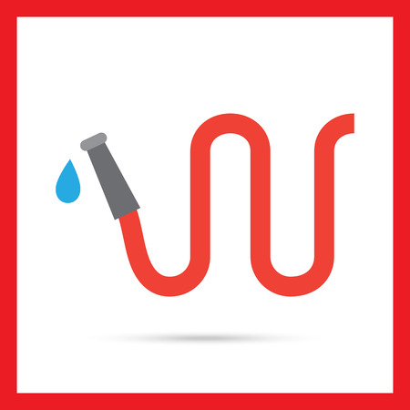 water hose: Vector icon of red garden hose with water drop
