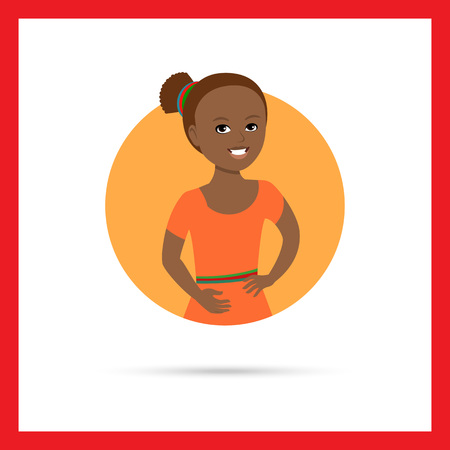 early teens: Female character, portrait of smiling African American girl Illustration