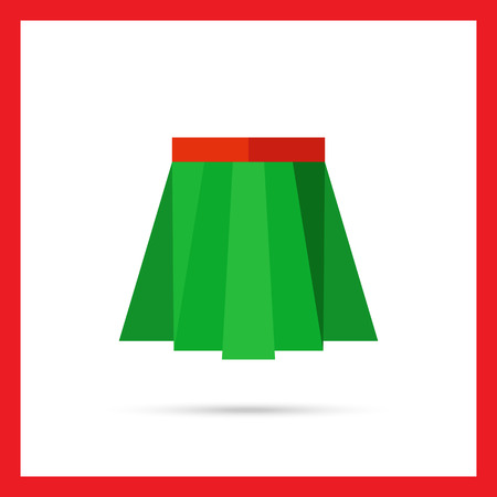 pleated: Multicolored vector icon of green pleated skirt with red belt