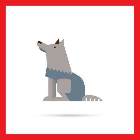 grey wolf: Multicolored vector icon of sitting grey wolf, side view Illustration