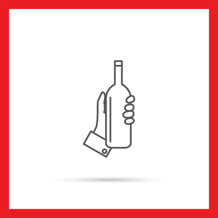 hand holding bottle: Icon of human hand holding bottle