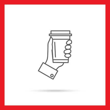 walking away: Icon of mans hand holding disposable coffee cup