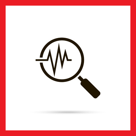 elettrocardiogramma: Icon of magnifying glass on electrocardiogram