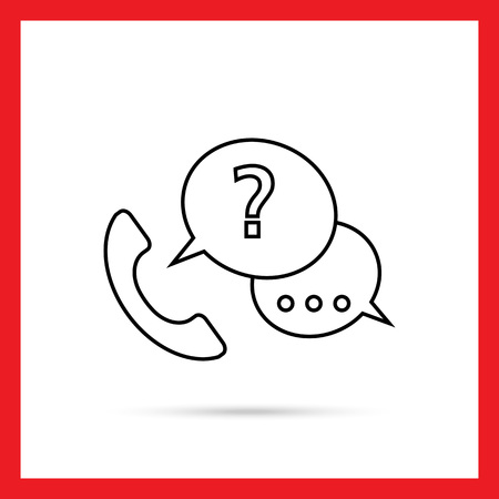 telephone receiver: Icon of telephone receiver with speech bubbles and question mark