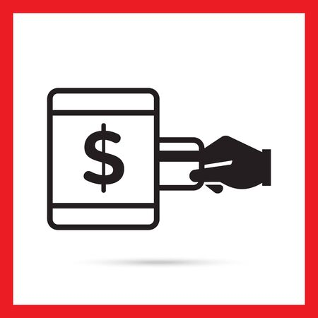 withdrawing: Vector icon of human hand inserting credit card into ATM with dollar sign