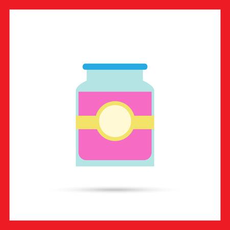 jam jar: Icon of jam jar with label Illustration