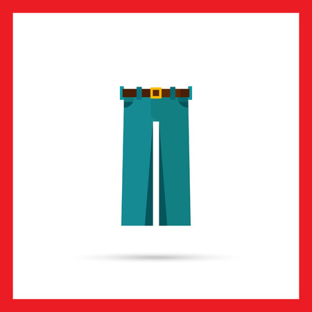 buckle: Multicolored vector icon of straight jeans with brown belt and buckle