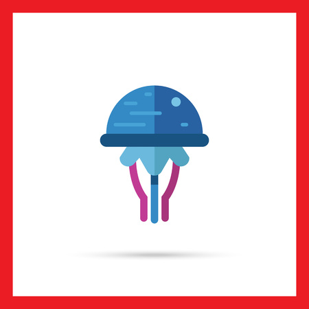 poison sea transport: Multicolored vector icon of blue cartoon jellyfish