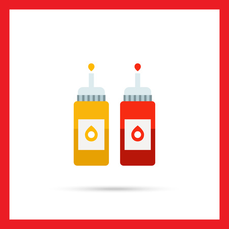 squirt: Vector icon of ketchup and mustard bottles with dispenser