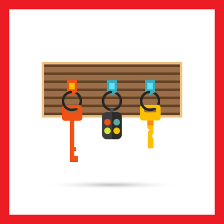 key fob: Multicolored vector icon of keys and alarm keychain hanging on board Illustration