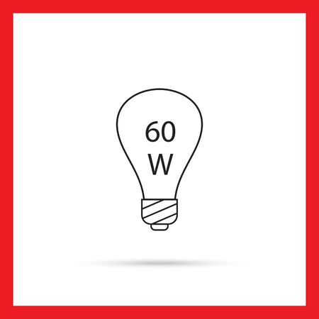 filament: Line icon of lightbulb with 60W power sign inside